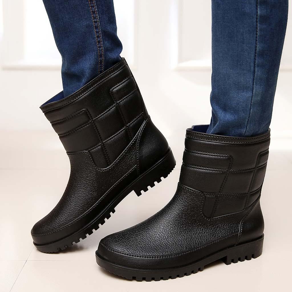 Schwarzer Regen Stiefel Herren bot Eisangeln Stiefel Classic Gummischuhe Vier Jahreszeiten Mode wasserdichte Schuhe Regen Schuhe Schneestiefel