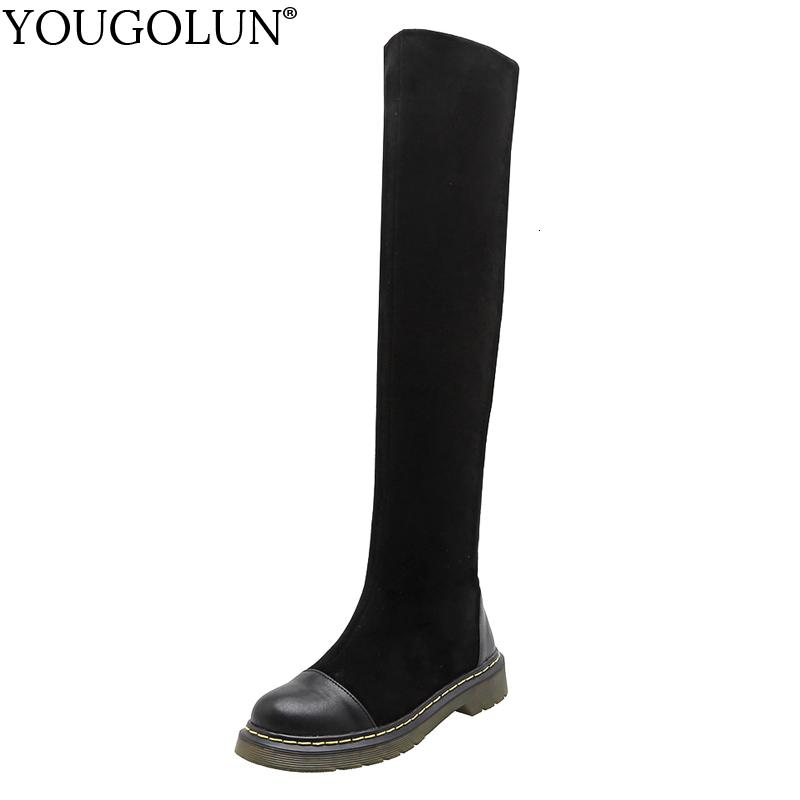 Stretch Cloth Thigh High Boots Women Flat Winter Shoes A370 Woman Boots Fashion Sewing Ladies Black Leather Over The Knee Boots T191109
