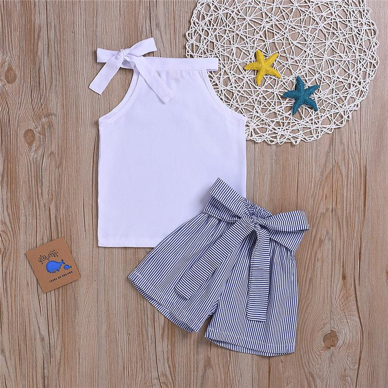 2020 estate del capretto vestiti della ragazza Set maglia bianca con l'arco + strisce breve Pant 2pcs vestito dei vestiti dei bambini di modo Outfit