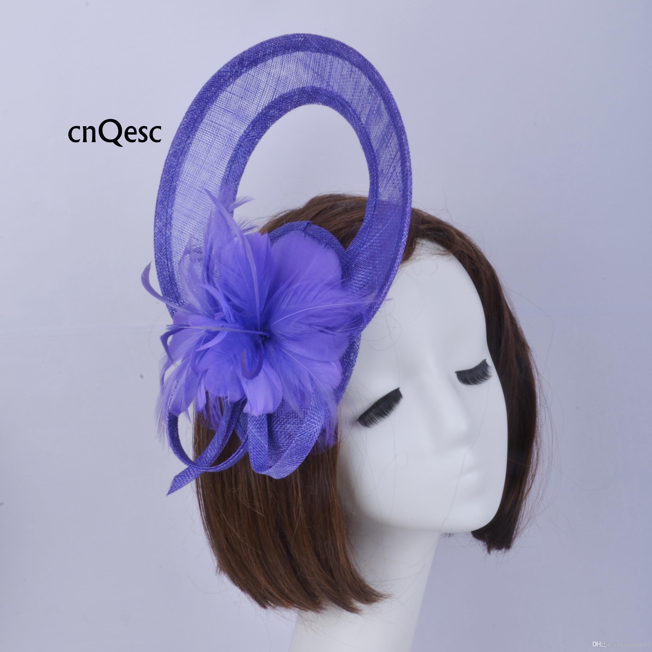 2019 Cappello blu sinamay viola fascinator Accessorio per capelli Copricapo Kentucky Derby gare di nozze doccia nuziale madre della sposa con piume