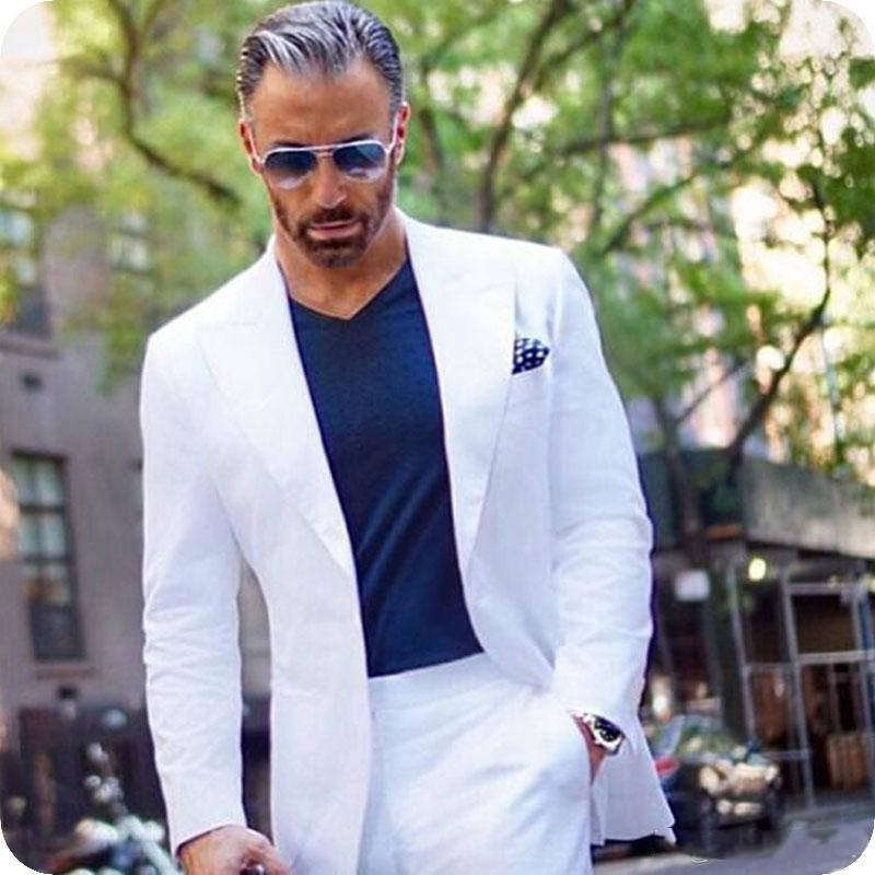 Clássico pico lapela casamento Smoking Slim Fit ternos para homens Groomsmen Suit Two Pieces Prom ternos formais (jacket + pants + Tie) W130