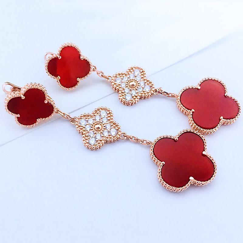Mode-S925 argent pur plaqué or 18 carats mince trèfle à quatre feuilles trois boucles d'oreilles fleur