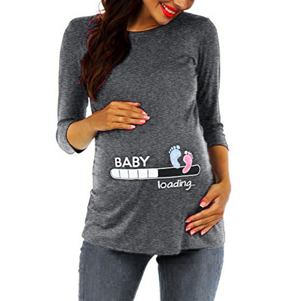 Maternité T-shirt de dames trois-quarts manches Cartoon Top maternité chemise de maternité Mère