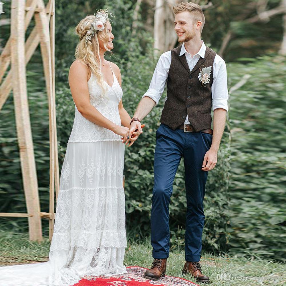 New Country Farm Matrimonio Lana marrone a spina di pesce Gilet di tweed Custom Made Groom Gilet Slim Fit Mens Suit Gilet Prom Wedding Gilet Plus Size