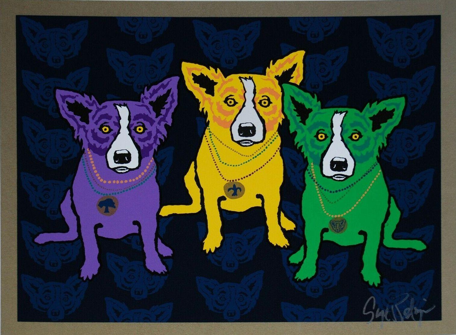 George Rodrigue Blue Dog Mardi Gras Cães Home Decor pintado à mão HD Imprimir pintura a óleo sobre tela Wall Art Pictures 200113