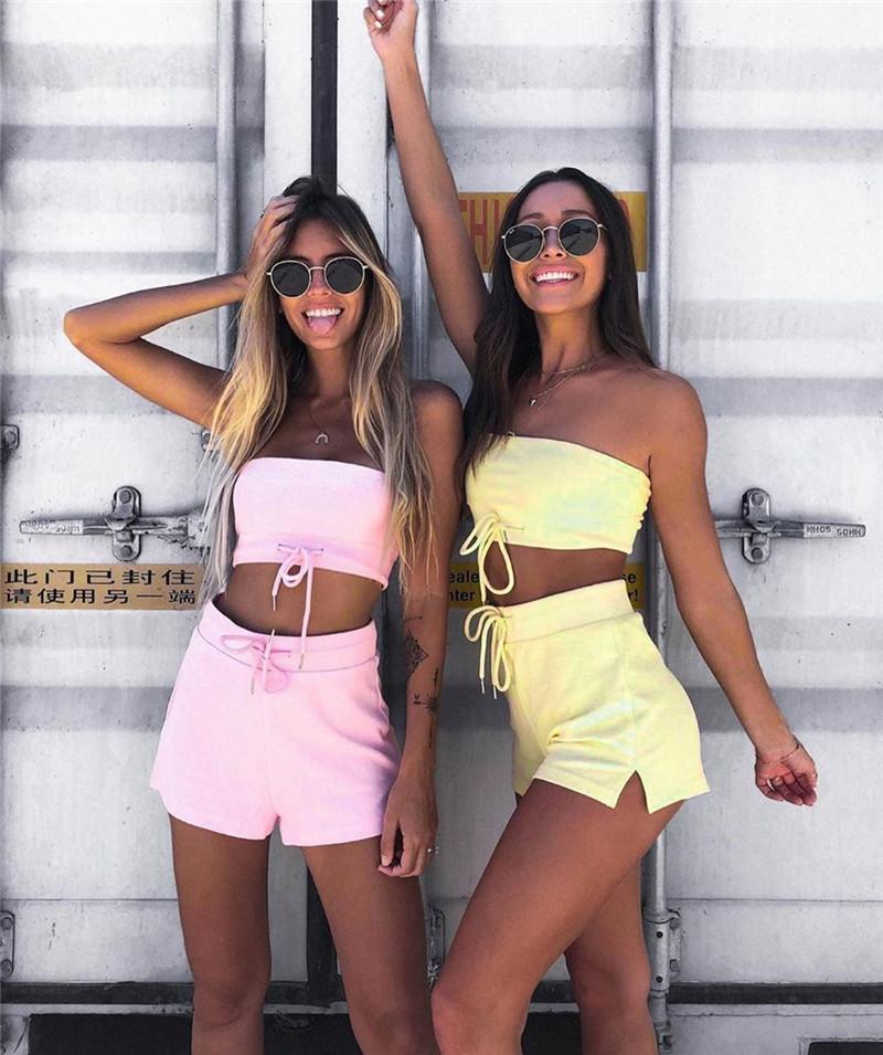 Renk Kadın Tracksuits Seksi Straplez Mahsul En Popüler Basit Kısa Pantolon Tasarımcı Aktif Suit Moda Candy Womens