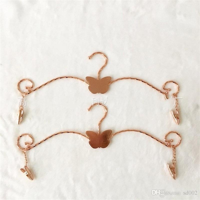 Les vêtements en acier inoxydable rack clip Clips Underwear papillon plaqué or Cintre pour Couture Anti Wear 2 2JL UU