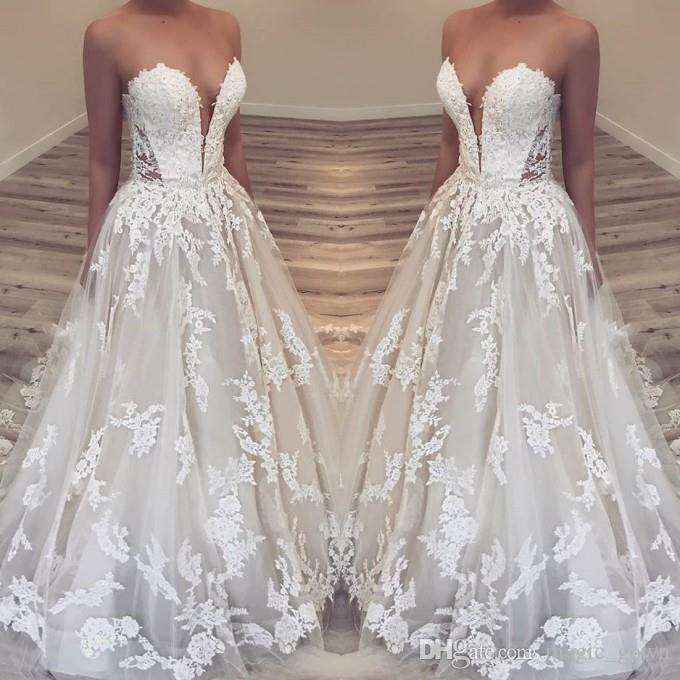 2019 novo plus size completa vestidos de noiva de praia do laço querida applique até o chão vestido de noiva vestidos de noiva boho vestido de novia