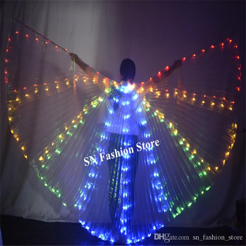 P23 Colorful led light cloak stage luminous costumes singer perform dress wings bellydance butterfly clothe dj outfits bar show party wears