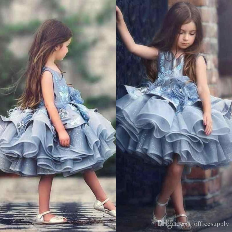 Pageant robes princesse 2020 nouveau designer fille Jewel cou perles Hanmade robe d'anniversaire robe de filles de fleur pour les mariages robes de bal