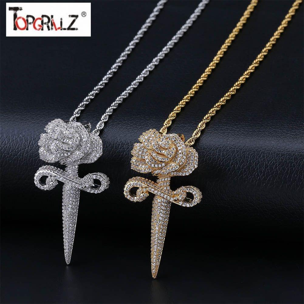 Colar De Pingente De Flores Da Nova Moda Com Corrente De Ténis A Bling Hip Hop Gold Silver Color Mens / Women'S Charm Chain Jewelry