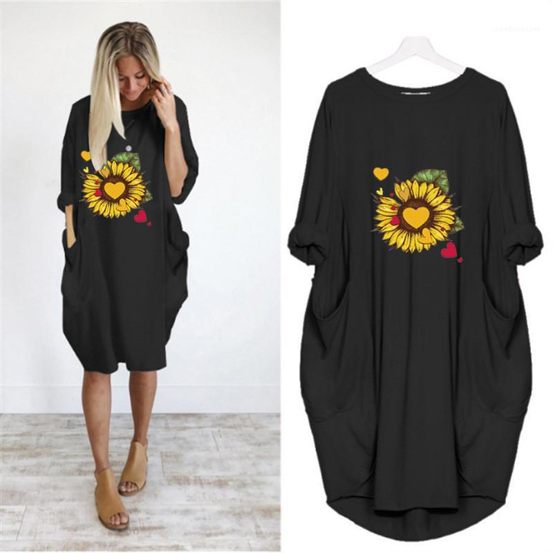 Clothing Summer Womens Casual Dresses Floral Printed Short Sleeve Crew Neck Solid Color Dresses Plus Size Women