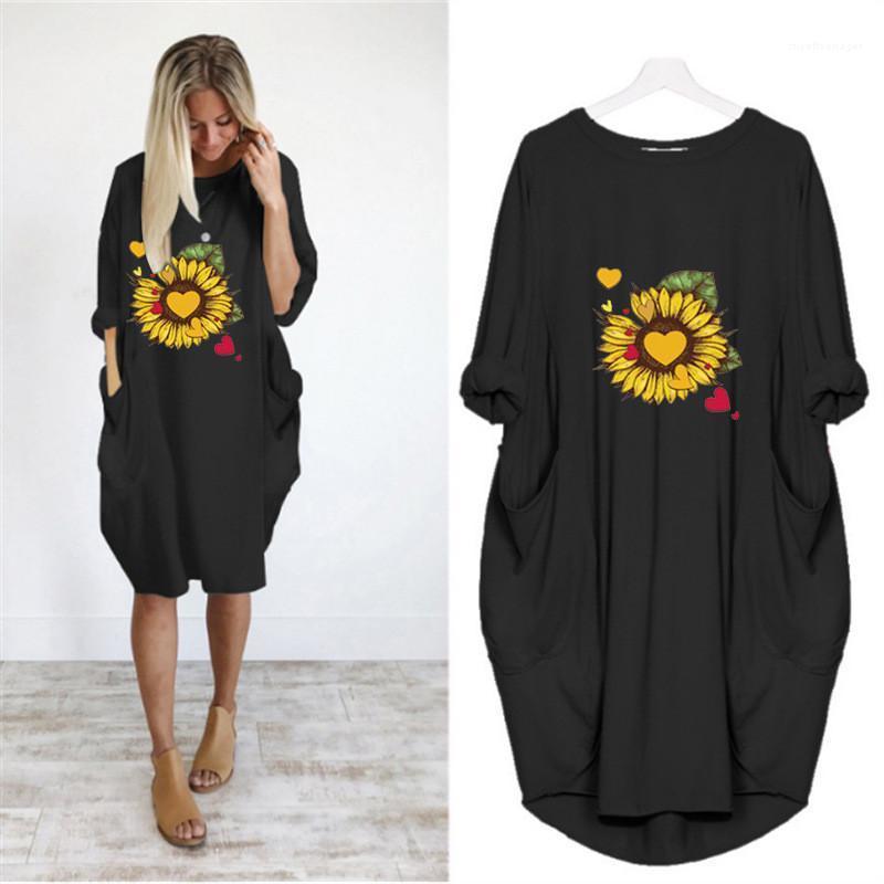 Vêtements pour femmes Robes d'été à manches courtes Casual Imprimé floral ras du cou couleur unie Taille Plus Robes Femmes