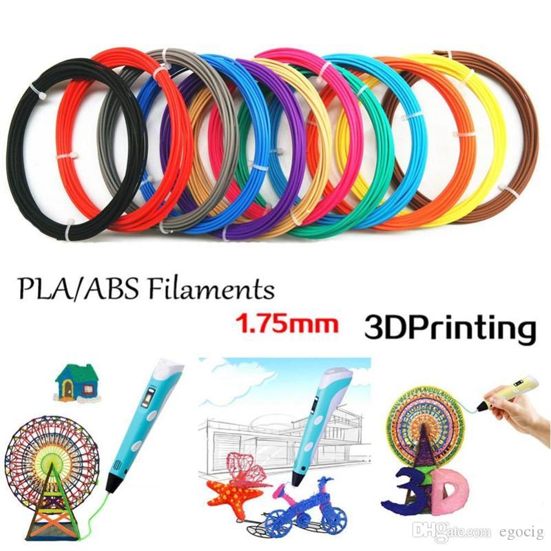 3D خيوط طابعة ABS / PLA 1.75mm المواد البلاستيكية 5M / 10M ل3D قلم الرسم والطباعة اللعب DIY الطباعة رسم القلم
