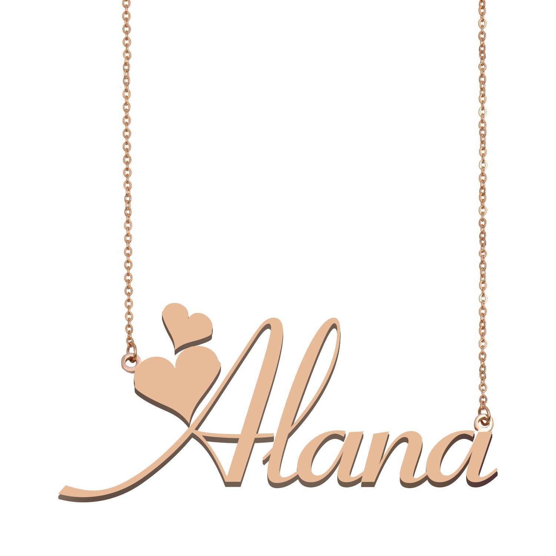 Alana Namenshalsketten-Anhänger für Frauen-Mädchen-Geburtstags-Geschenk Individuellen Typschild Kinder Beste-Freunde-Schmucksachen 18k Gold überzogener Edelstahl