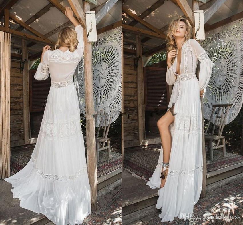 Inbal Raviv 2020 cordón de la gasa Nueva boda larga de la manga vestidos de ganchillo que fluye vestido de la llamarada diosa griega de la playa de Bohemia de novia 4620