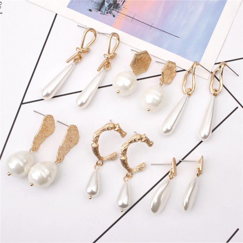 Cuelga los pendientes chapado en oro de la nueva vendimia irregular de la perla para mujeres Regalos de boda Declaración geométrica pendiente de gota diseños de la mezcla
