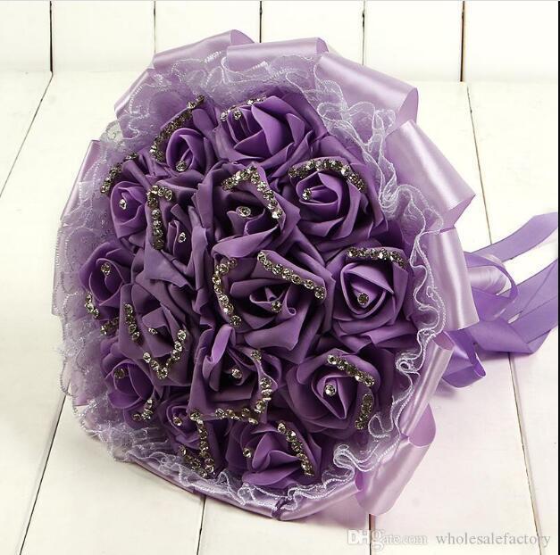Espuma rosa boda ramos nupciales flores hechas a mano flores artificiales rosas cristales suministros de boda novia sosteniendo flores broche ramo CPA1595