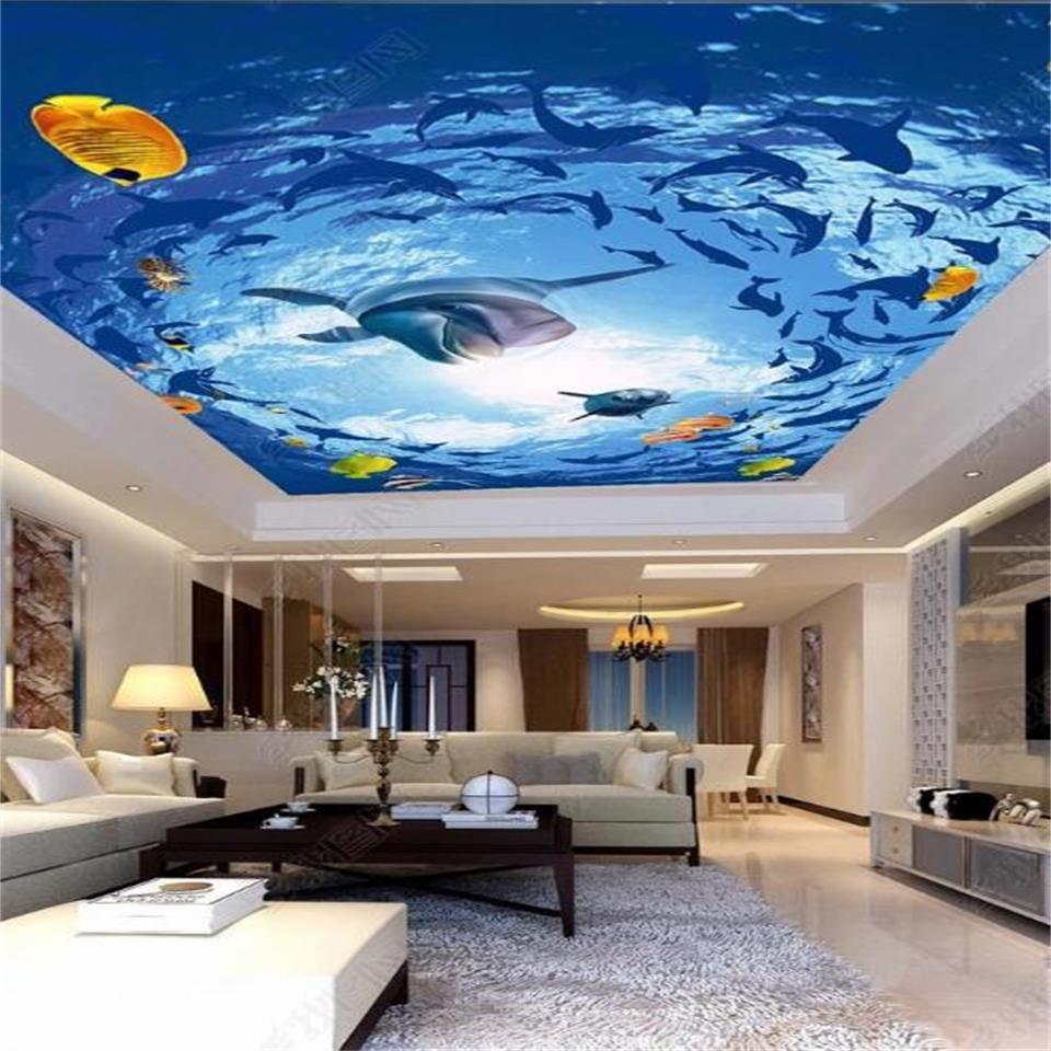 özel 3d fotoğraf kağıdı tavan oturma odası duvar deniz dünya güneş tavan resim 3d duvar odası duvar kağıdı duvar çıkartması yunus