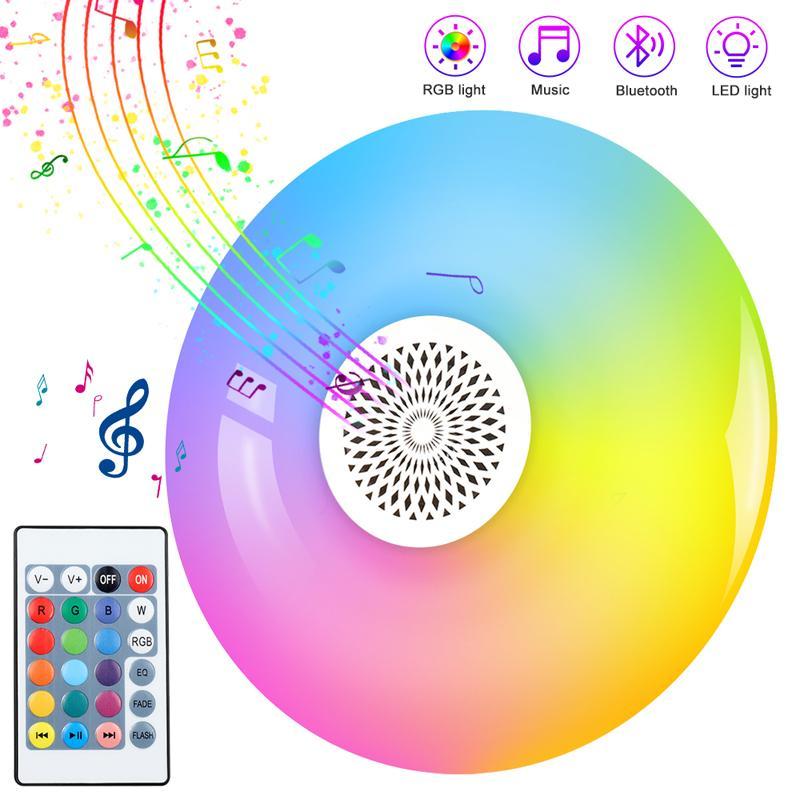 원격 24 키 제어 스마트 LED 전구 E27 RGB 화이트 블루투스 스피커 LED 전구 빛 음악 재생 디 밍이 가능한 무선 LED 램프