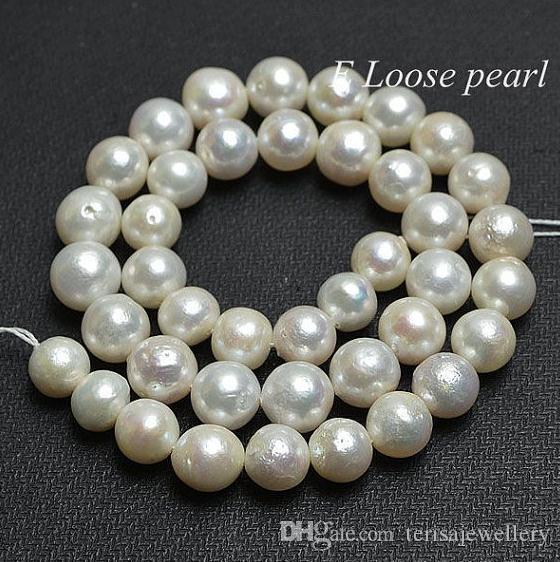 2019 New Perle allentate Jewellery, Perle d'acqua dolce vere Perle bianche 9-10mm Nozze da sposa da sposa 15''One Full Strands