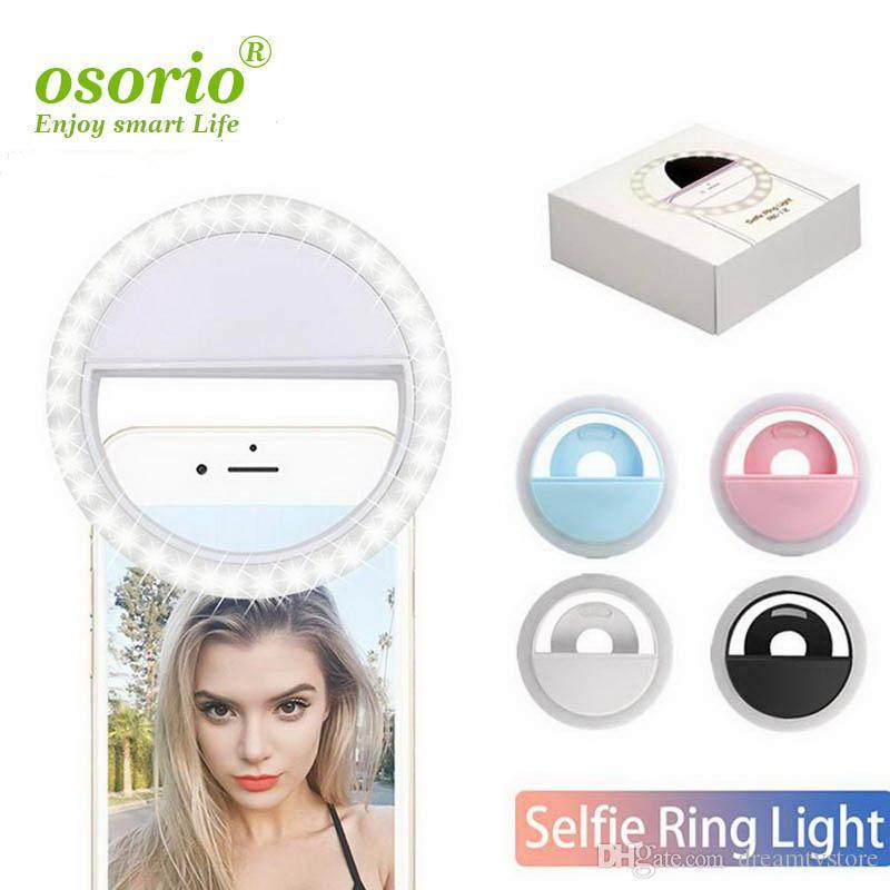 Rechargeable selfie anneau lumineux Luminosité réglable Portable LED avec batterie Amélioration Photographie efficace des quatre couleurs avec Packag détail