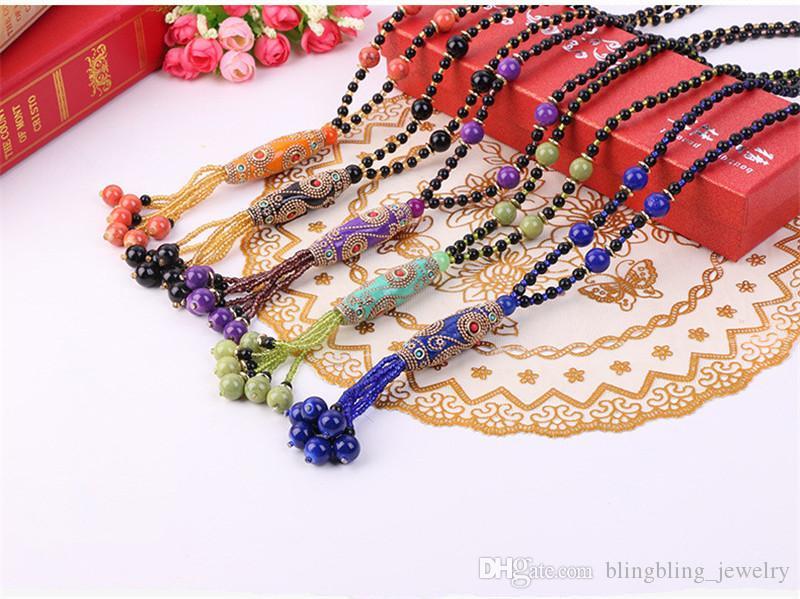 Atacado estilo étnico elegantes Matching Accessories Colar retro boêmio Beads longo parágrafo macia camisola argila cadeia de atacado Feminino