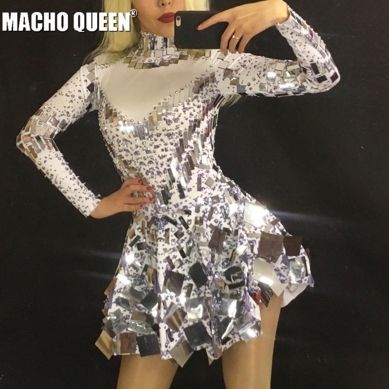 Vestir de blanco Espejo Rhinestone mono de baile latino vestido de traje de las mujeres brillantes del traje de los trajes de drag queen fiesta de cumpleaños del mono