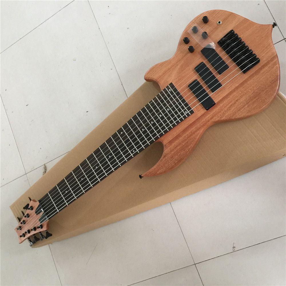 مصنع مخصص شكل من غير المعتاد 8 سلسلة الخشب الطبيعي اللون الكهربائية باس الغيتار، والأجهزة السوداء، عرض مخصصة