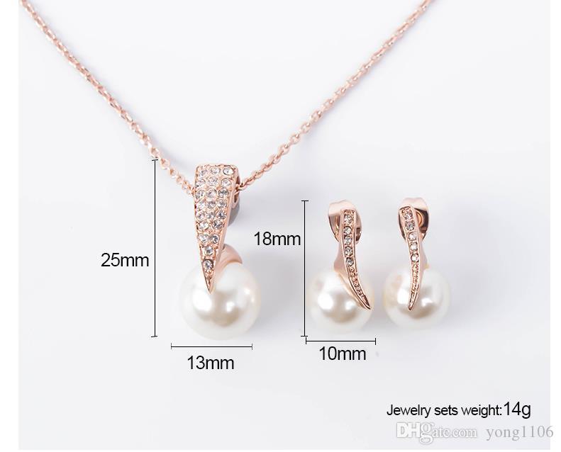 Tendencia de moda europea y americana novia diamante perla personalidad accesorios collar traje joyería de la boda vestido de banquete Pendientes Joyería