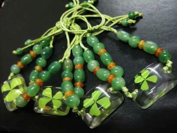 Prix actuel 12 pcs YQTDMY Vintage Charme Bracelets Bracelets Real Dry Clover Bijoux Diy