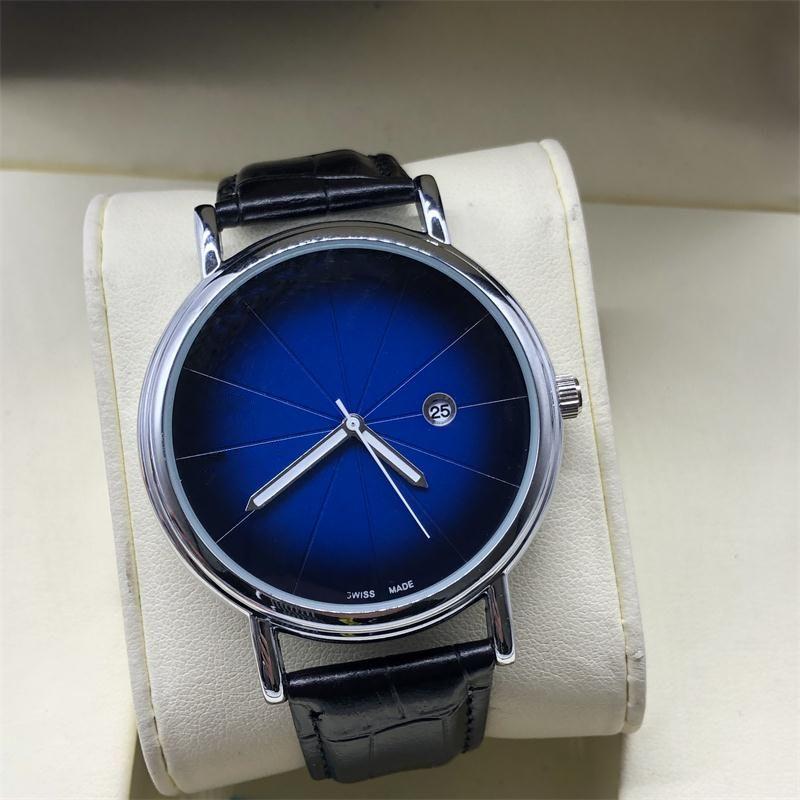 19 nouvelle montre à quartz 3A automatique hommes montre étanche mode simple calendrier cuir bracelet montre-bracelet roue chanceux