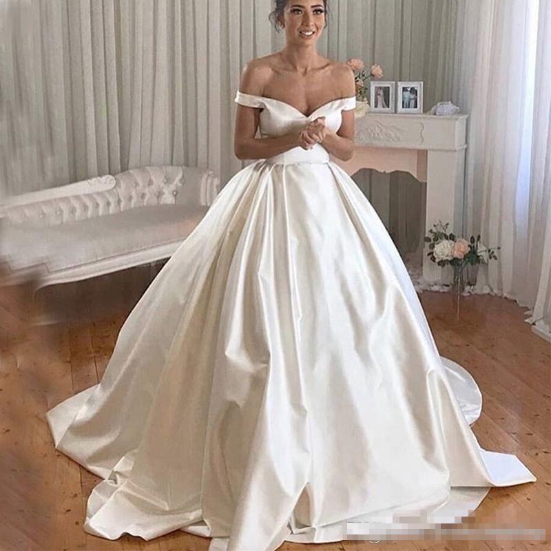 Vestiti Da Sposa In Raso.Acquista A Line Abiti Da Sposa In Raso 2019 Ball Gown Off The
