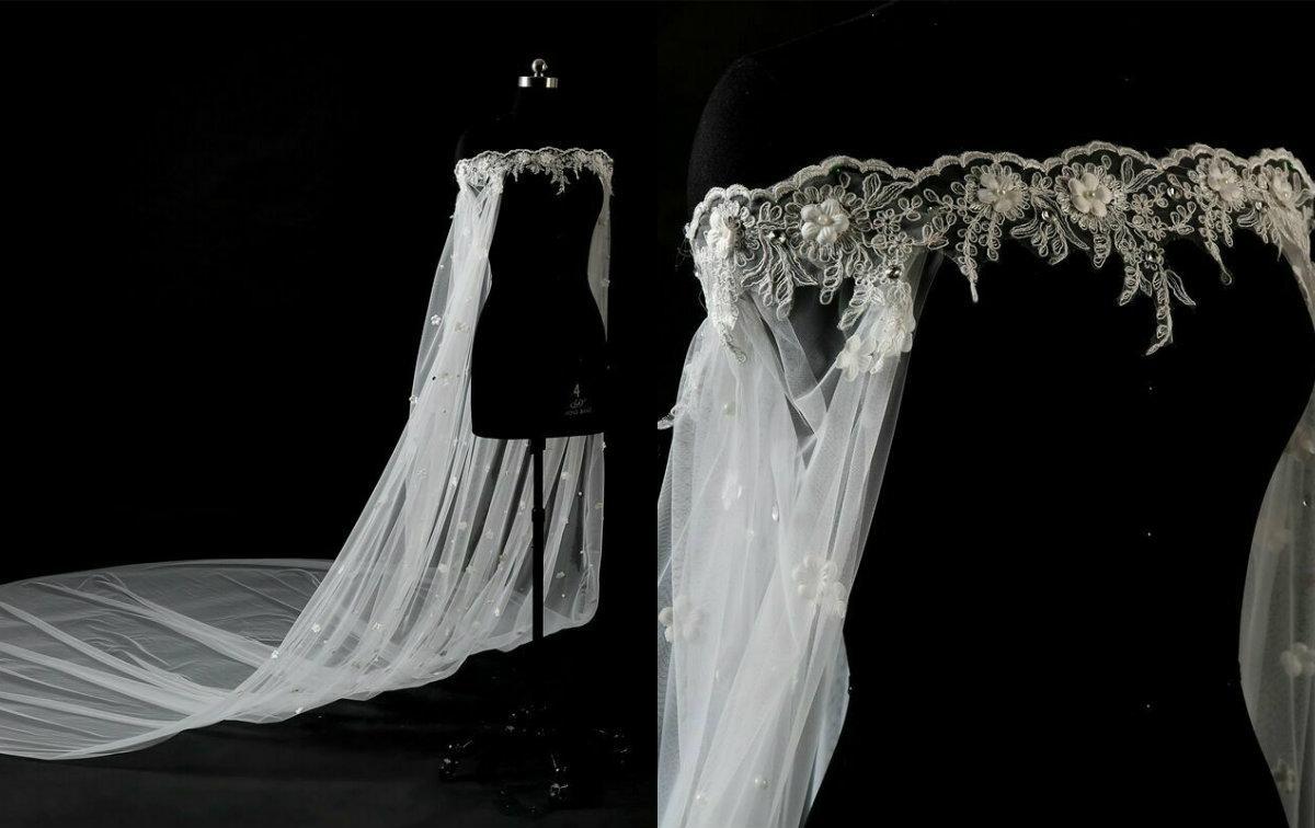 Cheap Boat Neck White Ivory Lace Cape Cloak Shawl Appliqued Beaded Wedding Jacket Bridal Wrap Train
