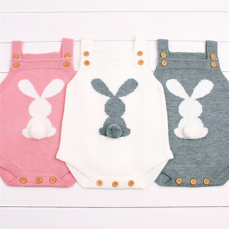 Nouveau-né Bébé Garçon Fille de lapin de Pâques Knit Romper Set Outfit Bodysuit Jumpsuit