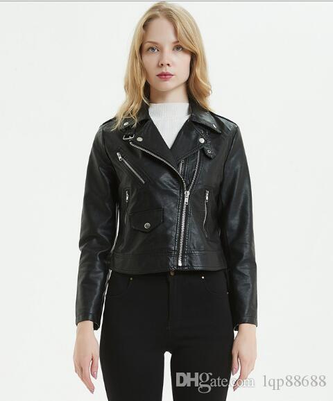 2019 primavera nuova pelle abbigliamento donna breve risvolto giacca moto colletto piccola pelle Capispalla cappotti