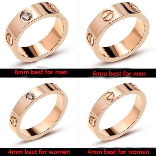 316L 스테인리스 웨딩 브랜드 디자이너 애호가 링 여성을위한 럭셔리 지르코니아 약혼 반지 남성 쥬얼리 선물 패션 액세서리