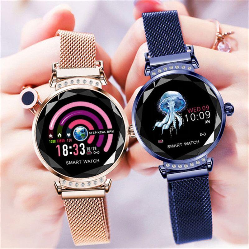 H2 Smart Wristband Women 3D Diamond Glass Heart Rate Blood Pressure Sleep Monitor Waterproof Smart Watch