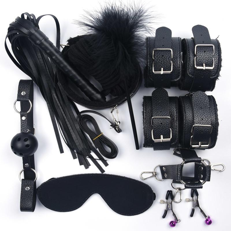 10 Pcs/set Sex Toys For Women Leather With Plush Handcuffs Whip Nipple Clamps Rope Bondage Set Adult Games T200410