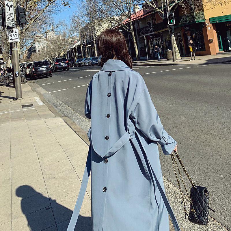 2020 новый тренч длинное пальто женская средняя длина корейская Свободная Весна мода темперамент синий пальто женский Casacos Femininos