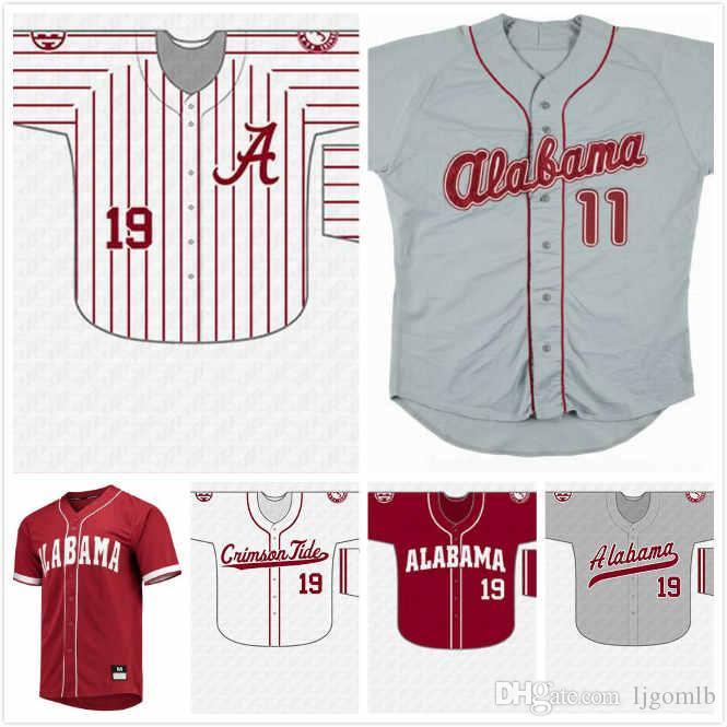 Camisa de beisebol de faculdade de Alabama personalizado Sam Finnerty 10 Sonny Potter 12 Jake Walters 16 Garret Rukes 21 Mason Duke 23 Walker McCleney 13 S-3 X
