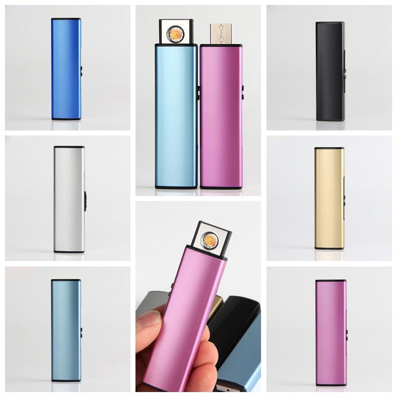 Date Belle Coloré USB Intelligent Briquet Coupe-Vent Mini Flash Disque Forme Cyclique De Charge Portable Pour Bong Cigarette Fumer Tuyau Outil