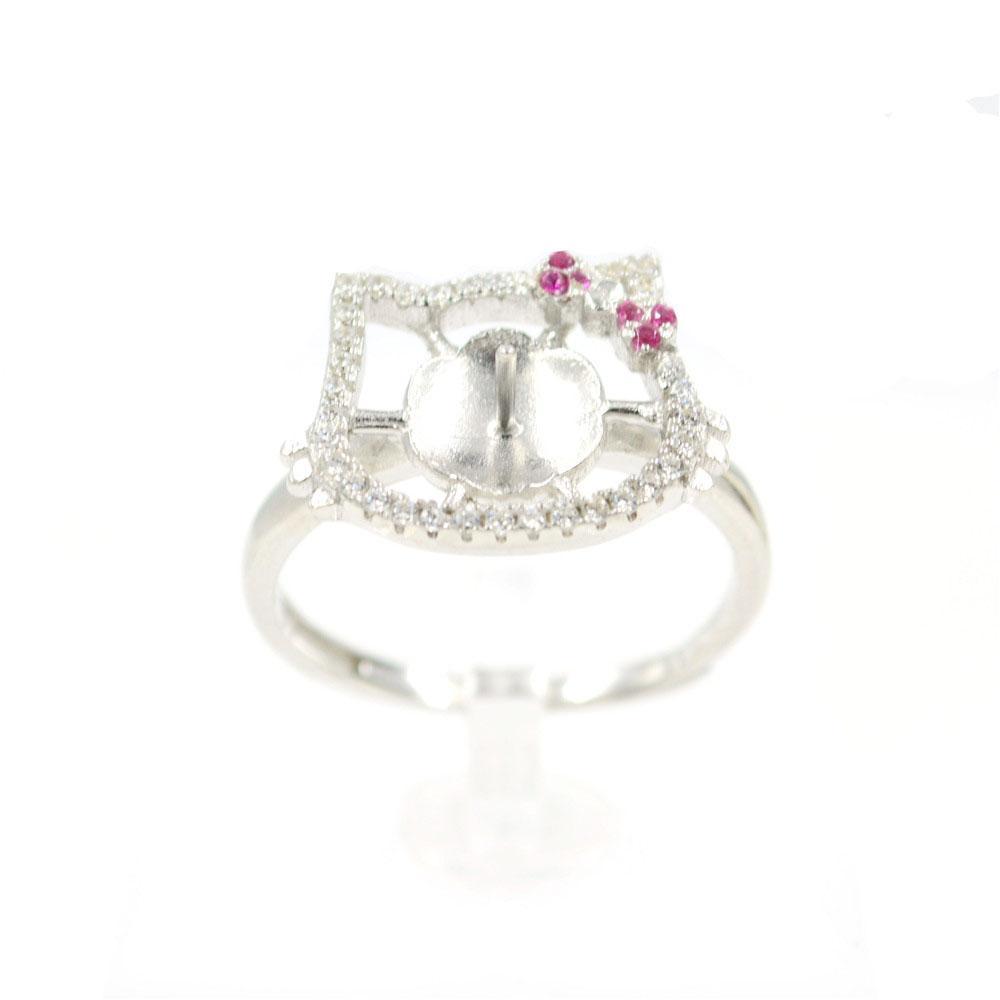 Оптовая продажа S925 стерлингового серебра кольцо монтаж Циркон кошка кольцо крепления для женщин жемчужные украшения diy бесплатная доставка регулируемый открытие кольцо