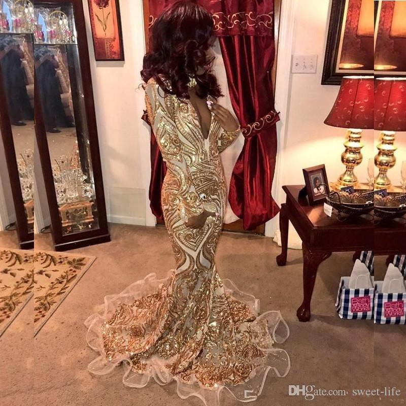 Trumpet Luxury Glitter Gold Prom Dresses 2020 Mermaid Sexy African Evening Gowns Deep V Neck Vestidos Special Occasion Party Wear