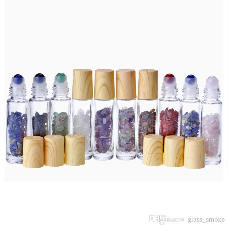 Doğal Kristal Kuvars Taş Kristal Küre Ağaç Damarı Kapak Essential Oil Şişe DHL Ücretsiz ile Parfüm Şişesi On 10ml Net Cam Rulo
