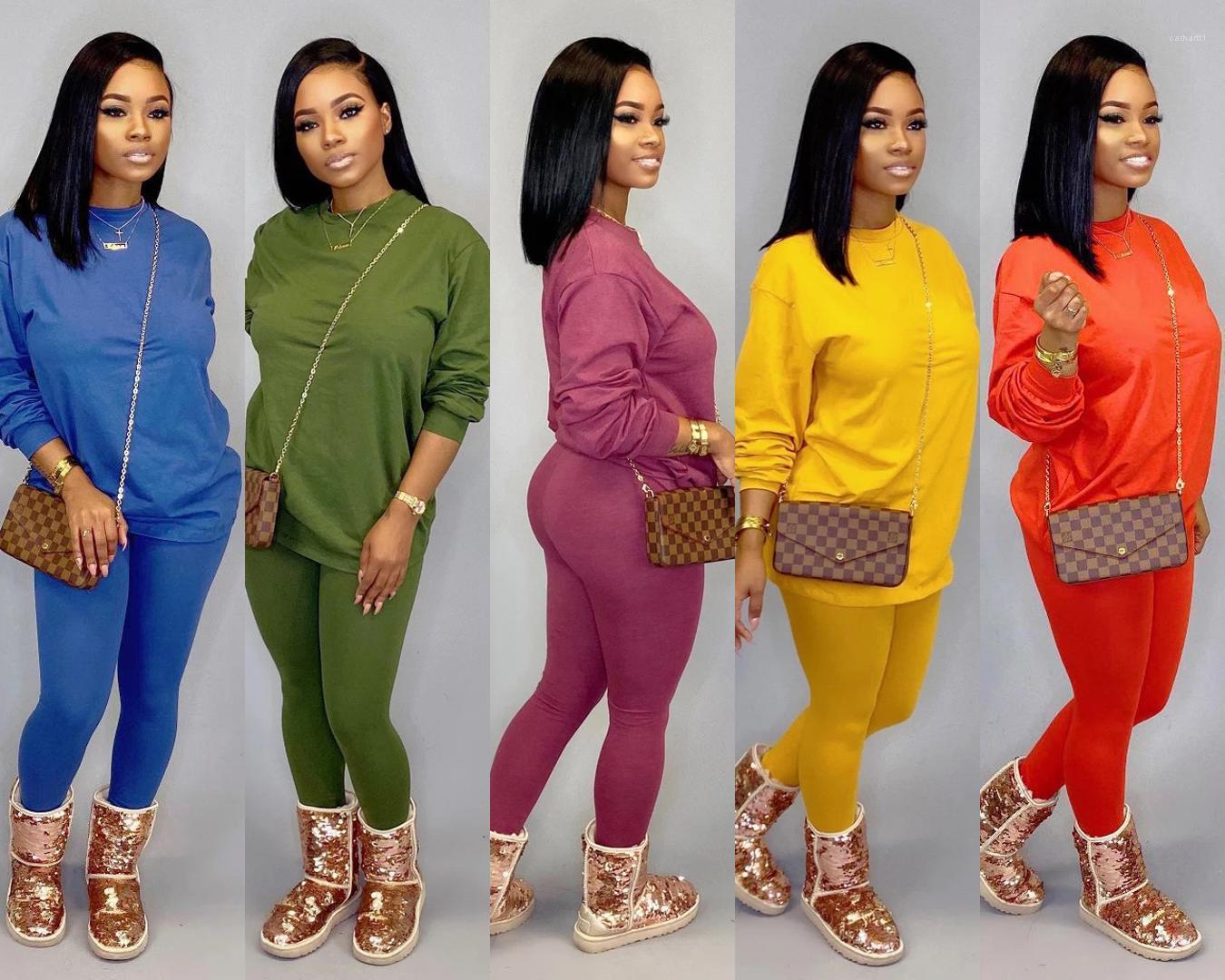 Şeker Renk Spor Sıcak Kadınlar İki Parça Setler Kadın Orta Bel Uzun Pantolon 2PCS Tops Casual Tulumlar Bayanlar İki adet Kıyafet Suits Wear