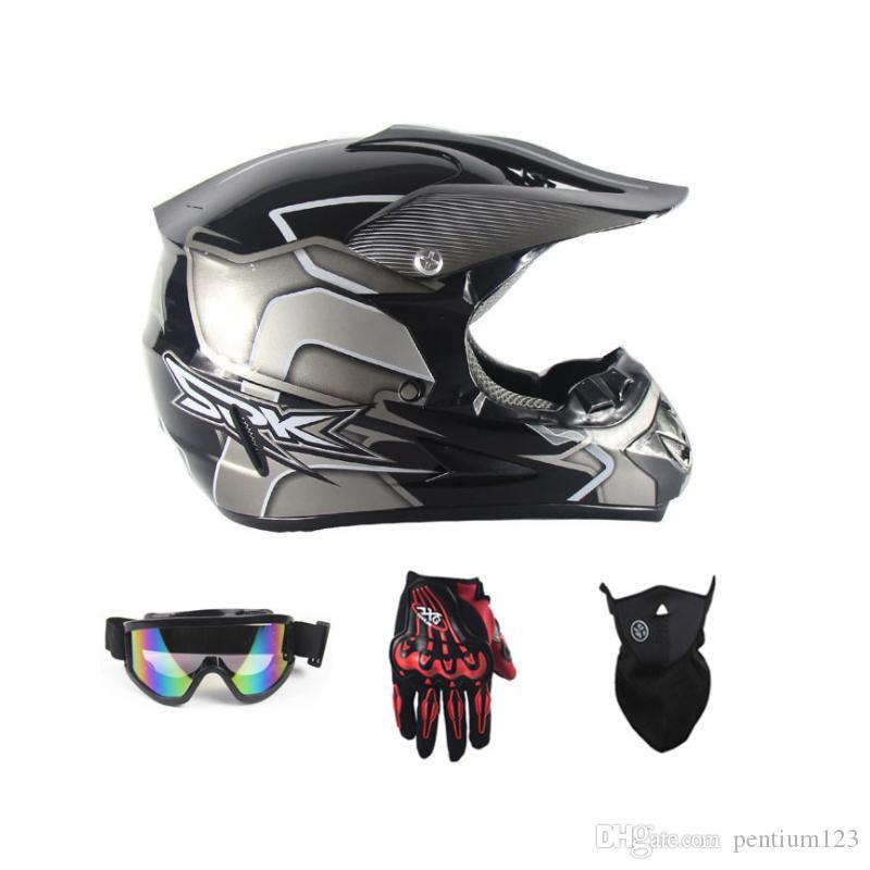 gözlük eldiven ile motosiklet kaskı aşağı için tam yüz Motosiklet bisiklet çapraz MTB DH yoldan motosiklet çapraz yarış kask noktası maske