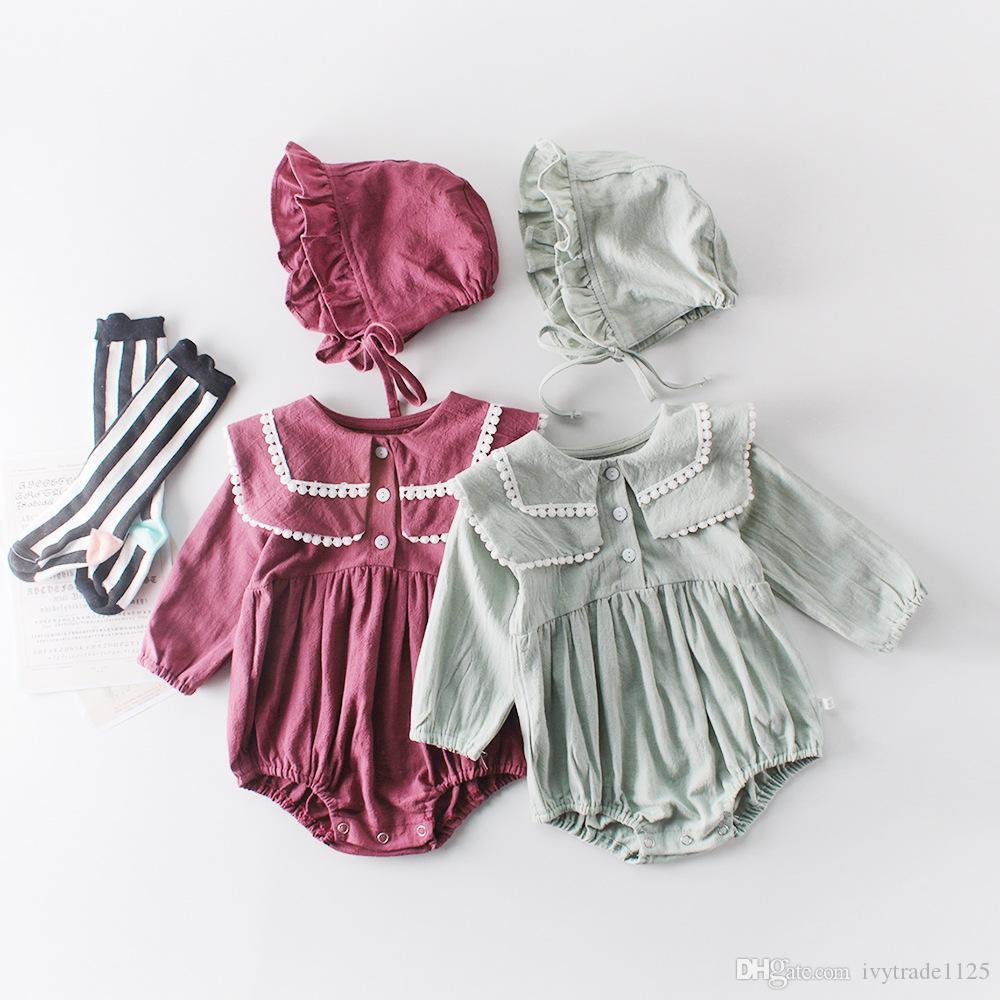 아기 소녀 디자이너 의류 Romper 긴 소매 솔리드 컬러 애완 동물 팬 칼라 장난 꾸러기 어린이 아이 100 % 코 튼 봄 가을 소녀 의류