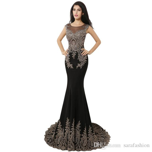Scoop Neck Mermaid Evening Dresses with Appliques 2019 Long Prom Gowns Robe De Soiree Custom Made