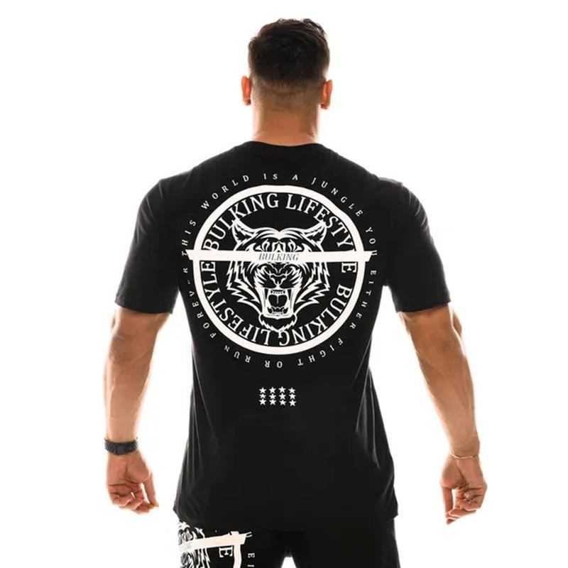 Muscle Man Bodybuilding Brothers Sport Casual Summer Fitness Course de formation coton à manches courtes T-shirt